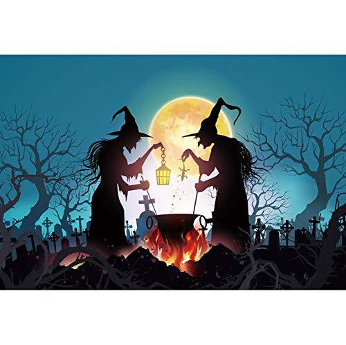 OERJU 2,2x1,5m Halloween Hintergrund Hexen Gift Machen Friedhof Vollmond Hintergrund Halloween Party Fotografie Süßes oder Saures Kinder Party Banner Dekoration Porträt (Machen Sie Einen Halloween-friedhof)