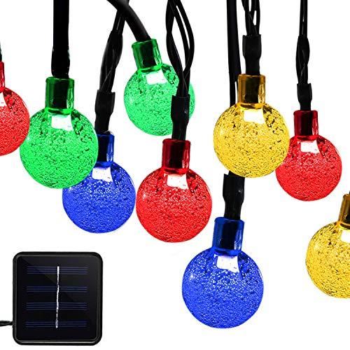 Luci a corda all'aperto energia solare, impermeabili 6m 30leds lampadine fata multicolore con sfere di cristallo per giardini, prato inglese, patio, natale, matrimonio, festa