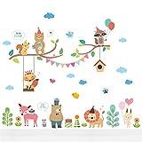 Malilove Tiere Partei Wand Aufkleber Kinderzimmer Dekoration Cartoon Hirsch Löwe Eulen Wandmalerei Kunst Diy Home Aufkleber Poster