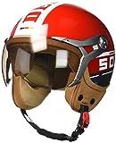 SOXON SP-325-PLUS Red · Cruiser Chopper Bobber Pilot Vespa Moto Mofa Demi-Jet Helmet Scooter Biker Casque Jet Vintage Retro · ECE certifiés · y compris le pare-soleil · y compris le sac de casque · Rouge · L (59-60cm)