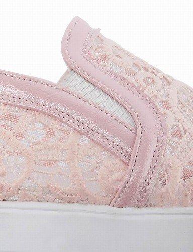 ZQ Scarpe Donna-Ballerine / Mocassini-Ufficio e lavoro / Formale / Casual-Punta arrotondata / Chiusa-Piatto-Finta pelle-Nero / Rosa / Bianco , pink-us8 / eu39 / uk6 / cn39 , pink-us8 / eu39 / uk6 / cn black-us5 / eu35 / uk3 / cn34