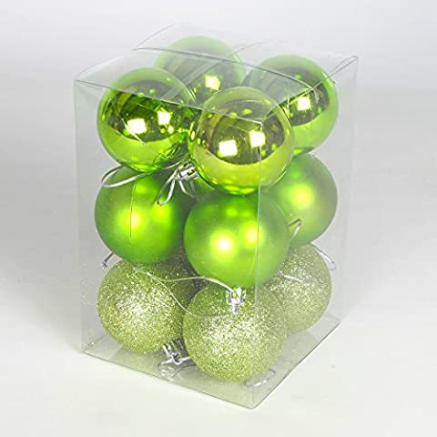 12er Set Gemischte bruchsichere Weihnachtskugeln (60mm, Apfelgrün)