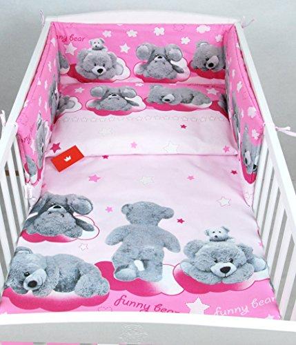 BABYLUX Bettwäsche Bezug 2 Tlg. 100 x 135 cm Kinderbettwäsche Bettwäsche Bettset Babybettwäsche (88. Rosa Bär)