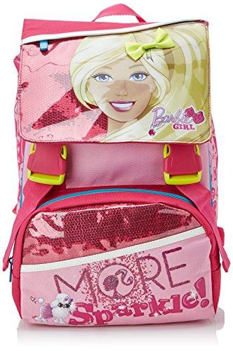 Barbie - sparkle zaino scuola espandibile con gadget, bambina, rosa, 28 litri