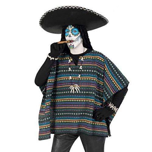 üm Set Poncho und Sombrero 2-TLG. Hut Mexikaner in schwarz Poncho EL Taco bunt gestreift Dia de Los Muertos ()