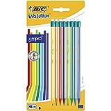 BIC Evolution Stripes Matite In Grafite HB Con Gomma - Colori Assortiti, Confezione Da 8