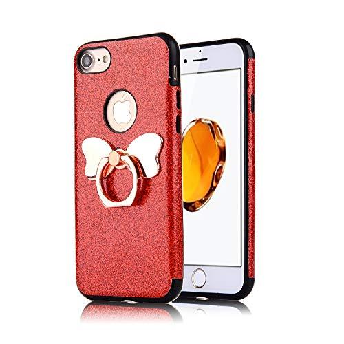 Preisvergleich Produktbild Misstars Glitzer Hülle für iPhone 7 Rot,  Bling Pailletten Weiche TPU Silikon Handyhülle Anti-Rutsch Kratzfest Schutzhülle mit Schmetterling Ring Ständer für Apple iPhone 7 / 8 (4, 7 Zoll)
