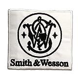 Aufnäher / Bügelbild - Smith & Wesson Logo - weiß - 8.8 x 8.2 cm - Patch Aufbügler Applikationen zum aufbügeln Applikation Patches Flicken