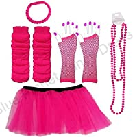 Blue Planet Fancy Dress ® 4-12 Childrens Neon Tutu Gloves Legwarmers set plus Beads & FREE Bracelet