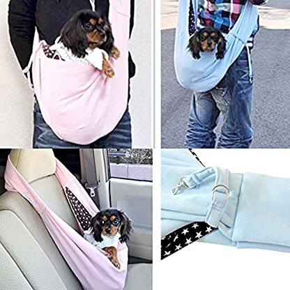 T Tocas Older, Little Cat Dog Puppy Hand-free Slings Carrier, Soft Reversible Shoulder Bag, Weight up to 5kg (Dark Blue) 3