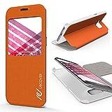 URCOVER Étui Portefeuille Avec Fenêtre Cross Pattern | Samsung Galaxy S7 Edge | Silicone Plastique Orange | Coque de Protection Mince Housse Rabat