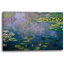 Claude Monet - Seerosen (1916/19), 120 x 80 cm (weitere Größen verfügbar), Leinwand auf Keilrahmen gespannt und fertig zum Aufhängen, hochwertiger Kunstdruck aus deutscher Produktion