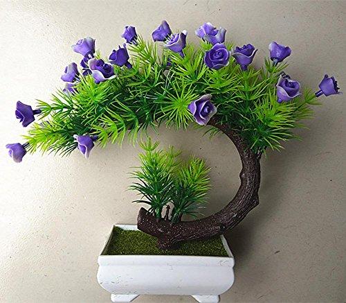 artificial Bonsái Bonsai sintético decorativo Artificial flor de la planta con Potted Decoración tabla sala estar afortunada Feng Shui Decorativa árboles floración , #26