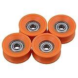 cnbtr 4Stück 6x 30x 13mm mit versiegelten Kugellagern Stahl 606ZZ Tief U Groove Umlenkrolle Schiene Kugellager Rolling Rad Orange