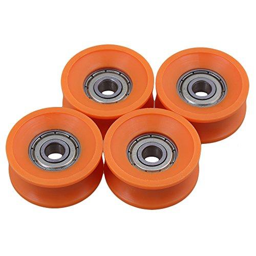 cnbtr 4pieces 6x 30x 13mm Rodamientos sellados con revestimiento de plástico acero 606ZZ profundo U Guía Groove Pulley Rail bola rodamiento rueda naranja