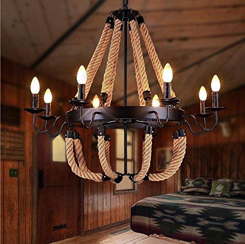 TUNBG Designer-Lampe industrielle Stil Loft Retro-kreative Lampe Lantern Cafe Restaurant Schmiedeeisen 8 Kopf Hanf Kronleuchter