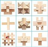 Joyeee 9 Pezzi Set Legno Rompicapo Cube Puzzle Game 3D - Gioco di Mente Cubo #5- Classici Puzzle di Set Per Bambini e Adulti