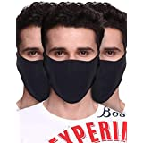 """PrimeBox Half Face Cover Face Mask For Bike Riding, Sports, and other outdoor activity Combo Set of 3pcs Black Reusable Soft Cotton Fabric""""Proper size as per Images"""""""