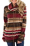 BLENCOT Donna Pullover Collo ad Anello Felpe Blusa da Donna con Tasca Maglione Cappotto Casual Manica Lunga a Strisce, Rosso, L