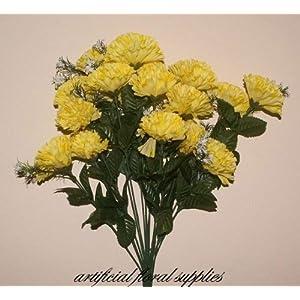 Ramo con 18 claveles artificiales amarillos, para boda o decoración