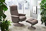 Relax Sessel, Fernsehsessel, TV Sessel, Funktionsessel, Mit Hocker, Loungesessel, Lesesessel, Relaxliege, Microfaser, Chrom, beige, Polsterung