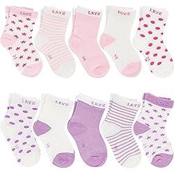 Ateid Pack de 10 Pares de Calcetines de Algodón para Bebé Niña (Rosa Púrpura), 4-6 años