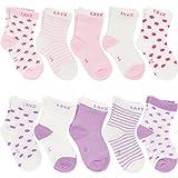 Ateid Pack de 10 Pares de Calcetines de Algodón para Bebé Niña (Rosa Púrpura), 1-3 años