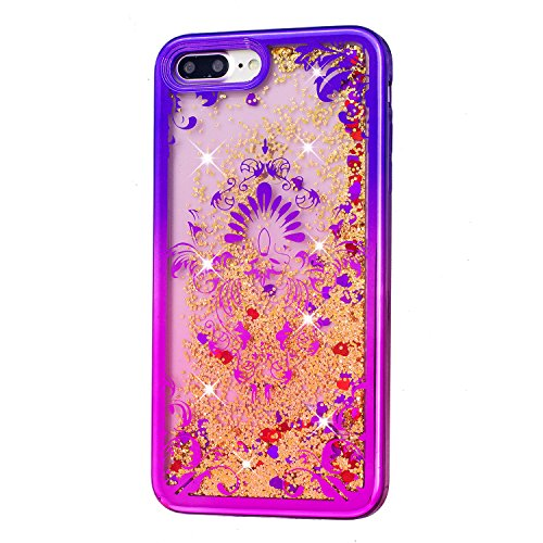 Coque pour iPhone 7 Plus, LANDEE Transparente Liquide Paillette Brillante Plastique Arrière Protecteur Dur Etui Housse de Protection Étui Coque Strass Case Cover pour iPhone 7 Plus(iphone 7 Plus-HXLS- iphone 7 Plus-HXLS-08
