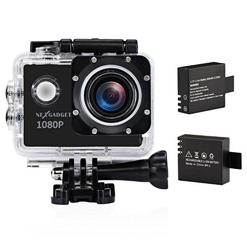 NEXGADGET 1080P de Vídeo y 12MP HD Imagen Sumergible Hasta 30m 170 Grados