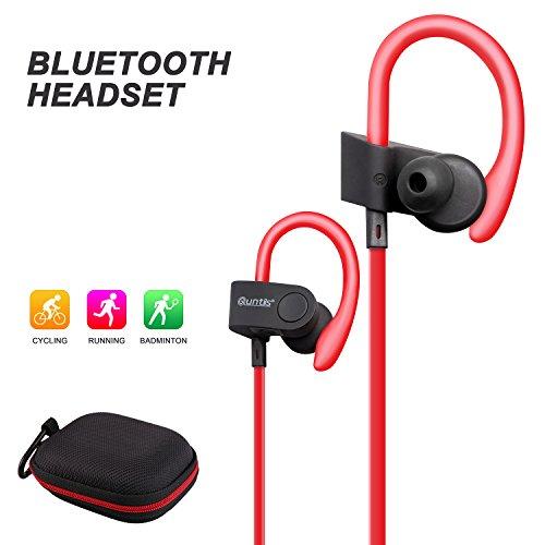 auricolare bluetooth, quntis cancellazione del rumore cuffie auricolari wireless Bluetooth 4.1Sweatproof auricolari con microfono per palestra, corsa JOGGER, escursionismo, esercizi per iPhone 7Plus 76S 6S Plus 66Plus 55S 5C, Samsung Galaxy S6EDGE, S6, telefoni Android, Bluetooth Smart TV (Blu) rosso Red - Red Jogger