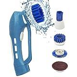 Reinigungsbürste EVERTOP Elektronik Reinigungsbürste IPX7 Wasserdicht vielfaltige Funktionen Haushalt Bürste mit 4 Bürste Kopf(C)