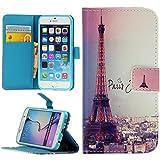 Handy Lux® Schutz Hülle Tasche Kartenfächer Flip Case Etui Cover Involto Motiv Design Hülle BookStyle für Samsung Galaxy S3 / S3 NEO, Eiffelturm Paris Bunt