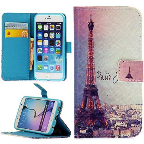 Handy Lux® Schutz Hülle Tasche Kartenfächer Flip Case Etui Cover Involto Motiv Design Hülle BookStyle (Apple iPhone 5 / 5S / SE, Gameboy) Eiffelturm Paris Bunt