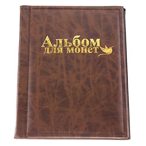 Garosa Münzalbum Sammelalbum Klassisch 250 Taschen 10 Seiten Sammlermünzen Aufbewahrung für Medaillons Abzeichen Gedenkmünze(Braun) -