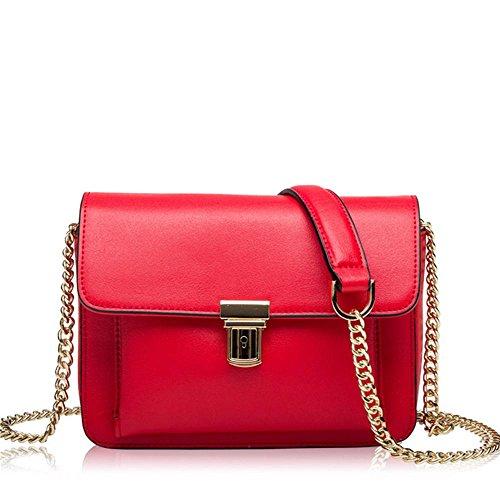 La signora YANX sacchetto di catena in pelle borsetta tracolla signora (20 * 15 * 7 cm) , red