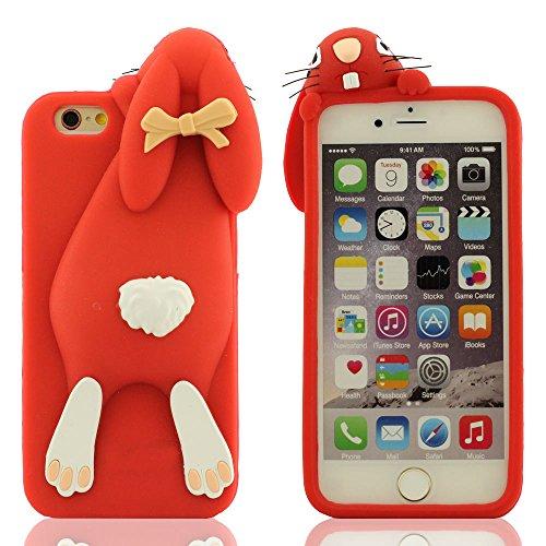 Schön Kaninchen Aussehen Entwurf Schutzhülle iPhone 6 Hülle, iPhone 6S Case (4.7 Zoll), Weich Silikon Handy Tasche Prämie Schutz Slap-up Estilo Rot