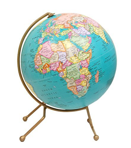 Bigtime Ent Turquoise World Globe - Antique Handmade Unique Stand (10 inches Diameter Ball) Desktop Rotating Decorative World Globe - Decorative Globe for Home and Office, Perfect Gift for Men/Women/Boss/Child