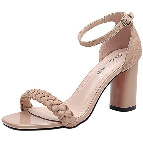 Oasap Women's Fashion Open Toe Ankle Strap Chunky Heels Sandals apricot