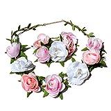 TRENDWERT Blumen-Haarband und Armreif I Haarschmuck Vintage zur Hochzeit Tracht Kommunion I Haarreif-Blüten in Rosa Pink Weiß I Blumen-Haarband-Mädchen und Damen längenverstellbar (Set)
