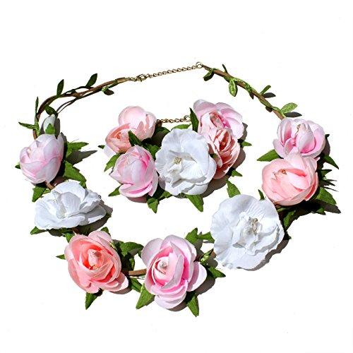 rband und Armreif I Haarschmuck Vintage zur Hochzeit Tracht Kommunion I Haarreif-Blüten in Rosa Pink Weiß I Blumen-Haarband-Mädchen und Damen längenverstellbar (Set) (Vintage Trachten Schmuck Halskette)