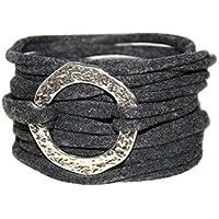 Endlosarmband zum Wickeln Stoffarmband anthrazit mit Metallelement onesize Geschenk