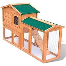 Conejera de Exterior Casa Para Animal Pequeño Jaula de Mascota de Madera