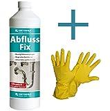 HOTREGA Abfluss Fix 1 L Konzentrat SET + NITRAS Handschuhe Gr. 10