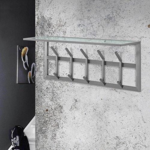 Garderobe Wandgarderobe IMMO 5 Edelstahl mit Ablage aus Glas