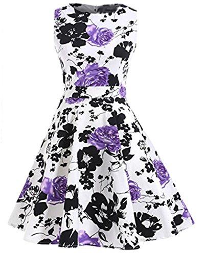 YARBAR Donne Vintage Floreale Vestito in Stile