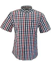 5bde21031129 Farah Mens Navy Red White Gingham Short Sleeved Shirt