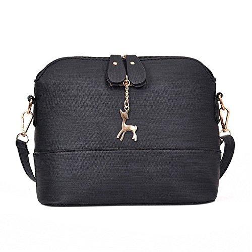 YULAND Neue Klassische Handtasche-Damen Deer Metall Ornamente Muscheln Handtasche,Handtasche Umhängetaschen für damen-Damenhandtaschen Leder (Schwarz) (Millennium-leder-handtasche)