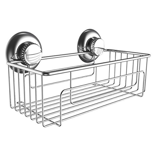 G-Loc Deep Shower Shelf Caddy Storage Basket Shampoo Conditioner Holder w Vacuum Suction Cups No Hooks No Drilling - Stainless Steel
