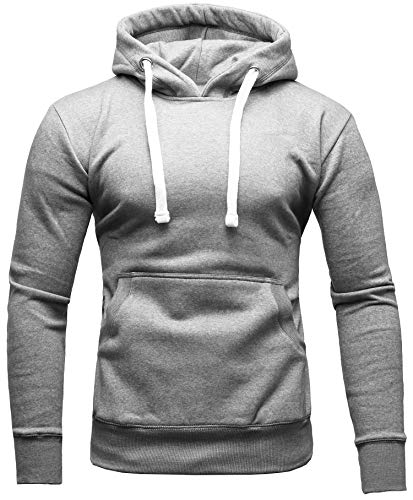CRONE Carlo Basic Herren Fleece-Hoodie Kapuzenpullover aus 100% Baumwolle mit Logo (XXL, Hellgrau) - Gewaschen Logo Mens Hoodie