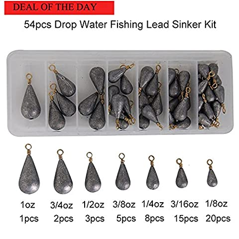 Shaddock Fishing 54pcs/box Assorted Bell/Bass Casting Pear Sinker Weight Kit-Total 13OZ in A Handy Box(Fulfilled (Shock Braid)